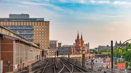 Berlin city skyline timelapse at Oberbaum Bridge and Berlin Metro, Berlin, Footage