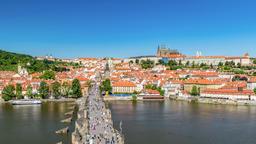 Prague city skyline Charles Bridge and Prague Castle timelapse, Prague, Czech Footage