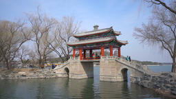 4k moving shot of a footbridge at Summer Palace in Beijing Footage