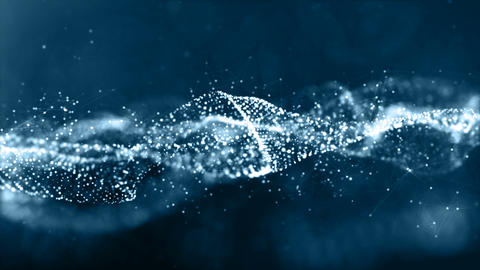 Digital blue color particles wave abstract background Animation