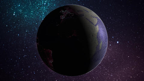 Revolving earth globe in space in day and night times Animation