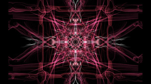 Red square composed fractal patterns on black background, mysterious ornament GIF