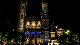 Montreal Notre-Dame Basilica cathedral in Quebec Canada night time lapse Footage