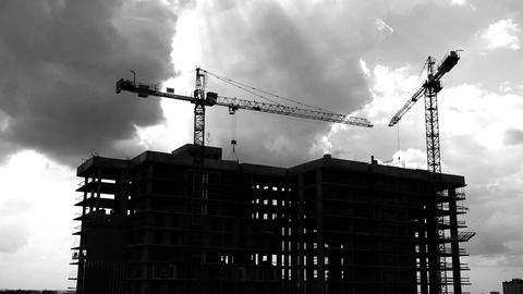 Construction Cranes Industrial Timelapse Video GIF