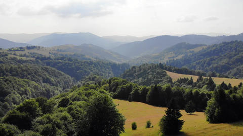 Aerial View Of Carpathian Mountains Range With Valleys And Pastures (2) ビデオ