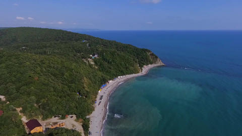 Blue Bay of the Black sea Beautiful beach in the black sea region of Krasnodar Live Action