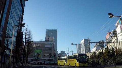 Japanese cityscape. Traveling footage near Tokyo, Shinjuku Station East Exit ビデオ