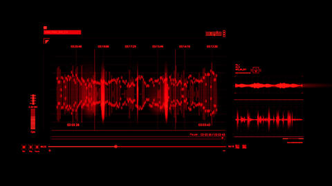 Red HUD Voice Recording Interface Graphic Element Animation