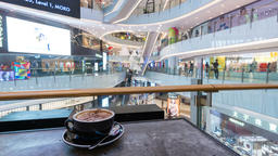 4k timelapse video of enjoying coffee in a shopping mall Footage