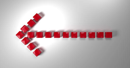Red arrow to the left. Composed of cubes falling from above. 3d rendering Animation