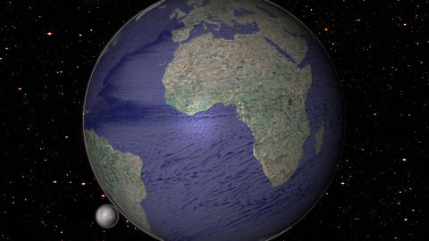 Revolving earth globe in space in day and night times Photo