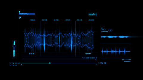 Blue HUD Voice Recording Interface Graphic Element Animation