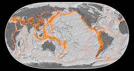 Ring of Fire on the map in the Natural Earth II projection. Bilevel Animation