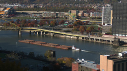 4K Pittsburgh Coal Barge Zoom 3770 Footage