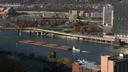 4K Pittsburgh Coal Barge Zoom 3770 Footage