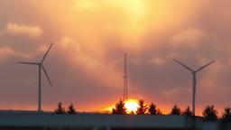 Sunrise Windmills 3826 stock footage