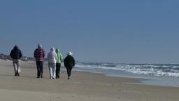 4K People Walk on Beach 3843 Footage