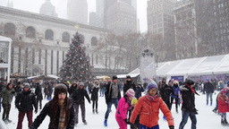 Bryant Park Ice Skaters 3880 Footage