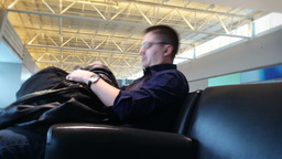 Tired Airport Passenger 3965 Footage