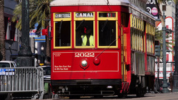 New Orleans Street Car on Canal Street 4053 Footage