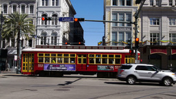 New Orleans Street Car on Canal Street 4058 Footage