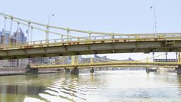 4K Three Sisters Bridges in Pittsburgh 4232 Footage
