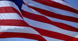 4K American Flag Blowing Waving Closeup 4300 Footage