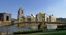 4K Pittsburgh Skyline from the North Side 4311 Footage