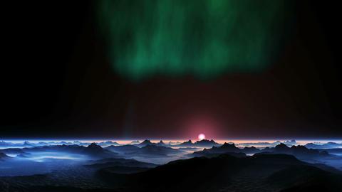 Aurora Borealis over an Alien Planet Animation