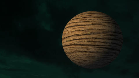 4k abstract, a rugged brown planet rotating around itself in space 영상물