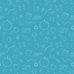 Rosh Hashanah holiday flat design white thin line icons seamless pattern Vector