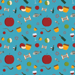 Rosh Hashanah holiday flat design icons seamless pattern ベクター