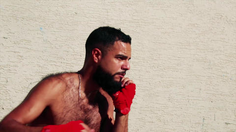 Boxer before a street fight - actor arabic / latino ビデオ