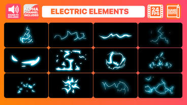 Electric Current Elements Pack + Titles Pack Motion Graphics Template