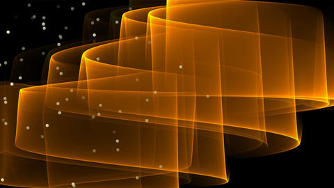 Abstract video with orange wavy transparent element and flying glittering Animation