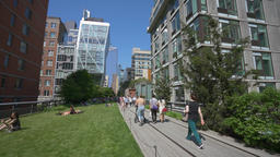 4k dolly shot of The High Line in New York Footage