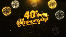 40th Happy Anniversary Text Greeting and Wishes card Made from Glitter Particles 영상물