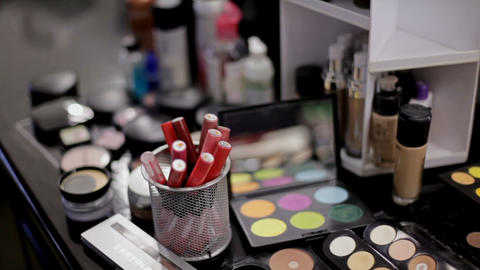 Professional cosmetics in the make-up salon. Luxurious cosmetics for make-up Footage