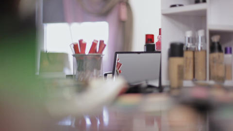 Professional cosmetics in the make-up salon. Luxurious cosmetics for make-up Live Action