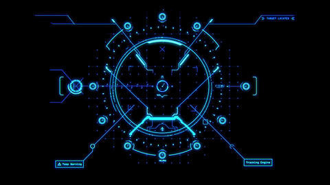 Blue HUD Weapon Interface Motion Graphic Element Animation