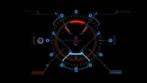 Blue Orange HUD Weapon Interface Motion Graphic Element Animation