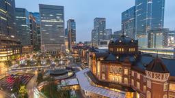 Tokyo city skyline day to night timelapse at Tokyo Station, Tokyo, Japan 4K Time Footage