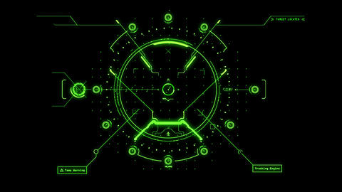 Green HUD Weapon Interface Motion Graphic Element Animation