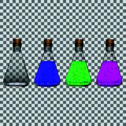 Chemical flasks with reagents on a transparent background Vector ベクター