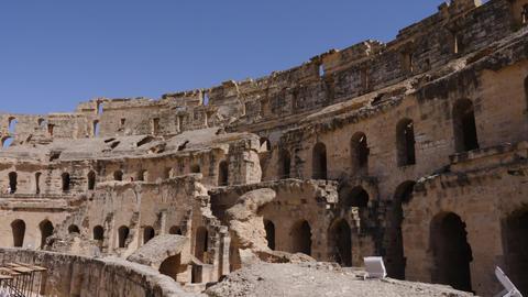 El Jem, Tunisia - 10 June 2018: architecture of old amphitheater Gordian inside Live Action