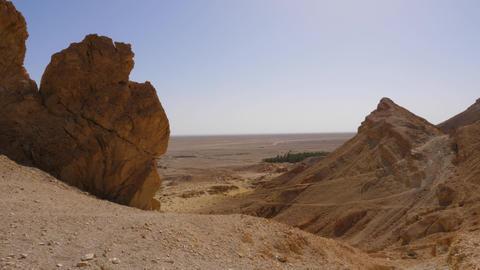 Mountain peaks of Atlas Mountains and Sahara desert landscape panoramic view Footage