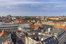 Copenhagen aerial view city skyline from Round Tower, Copenhagen Denmark Photo