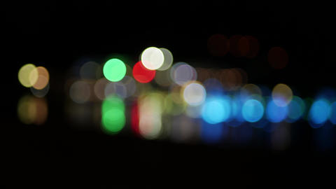 Abstract glowing blurry circles blinkin in the night - background concept bokeh Footage