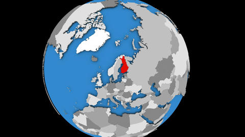 Zooming in on Finland on political globe Animation