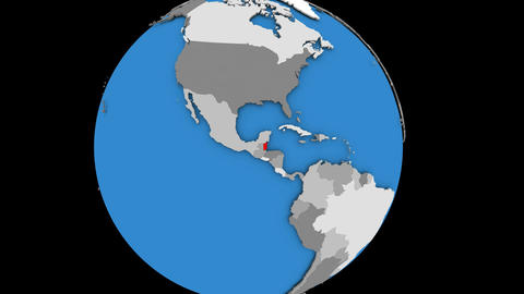 Zooming in on Belize on political globe Animation